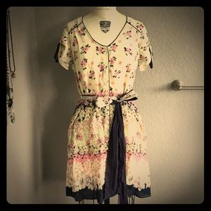 Button Down Flowered Cotton Dress